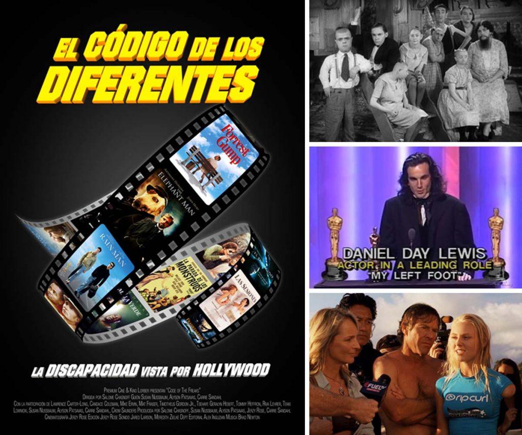 Imágenes y cartel de la película documental El Código De Los Diferentes: La Discapacidad Vista Por Hollywood